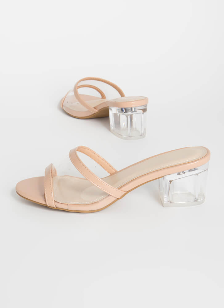 All Clear Faux Patent Lucite Mule Heels NUDE