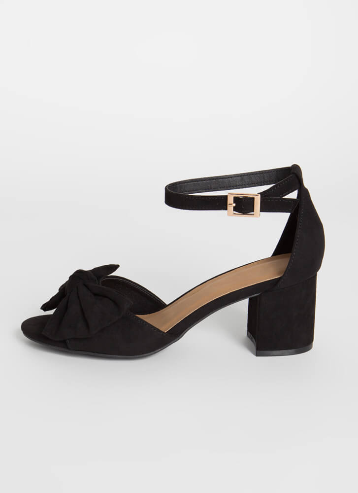 Bow On A Date Faux Suede Block Heels BLACK