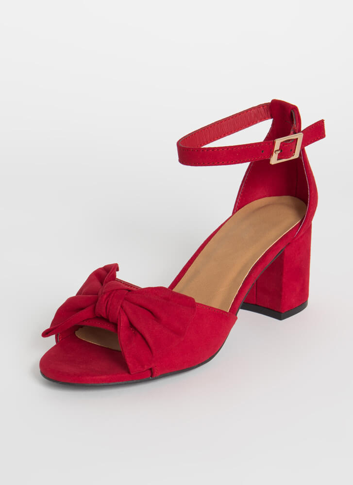 Bow On A Date Faux Suede Block Heels RED
