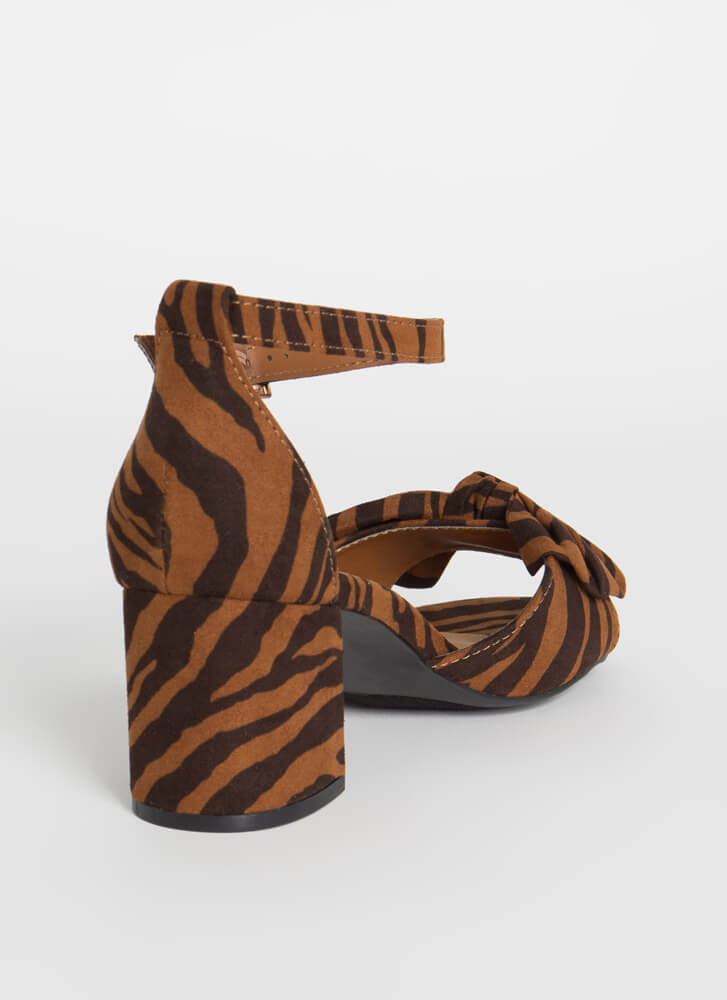 Bow On A Date Tiger Print Block Heels TIGER