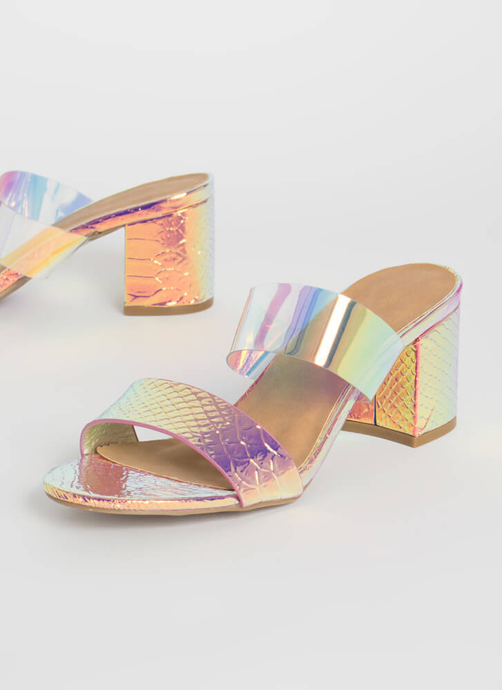 So Ready Chunky Iridescent Block Heels IRIDESCENT (Final Sale)
