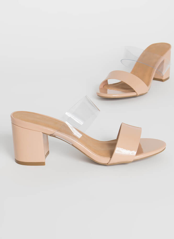 So Ready Chunky Faux Patent Block Heels NUDE