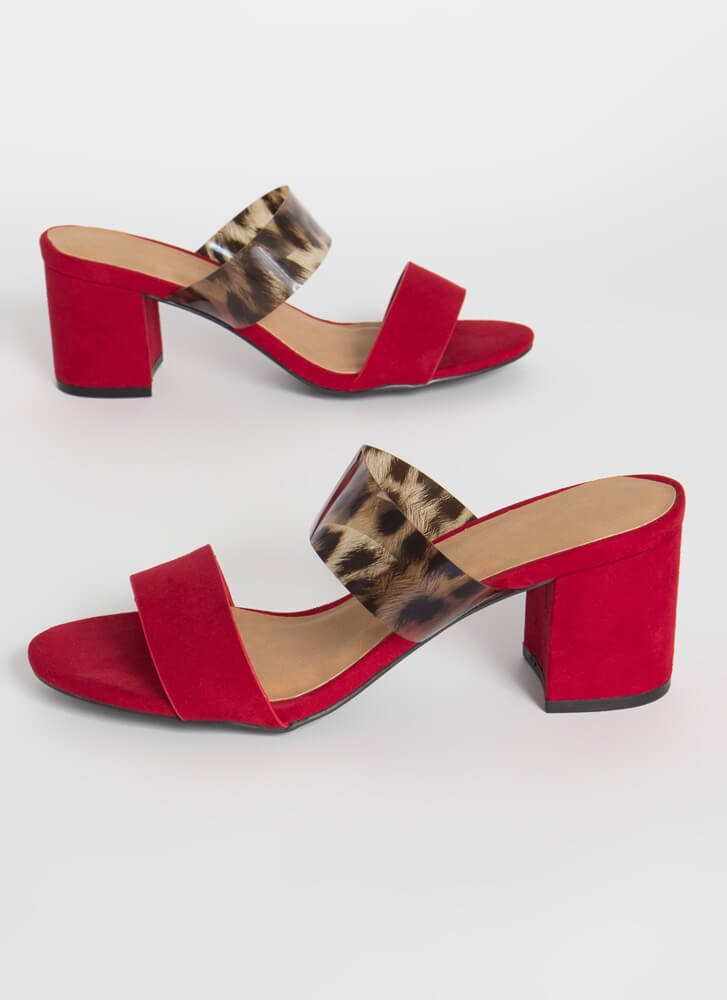 So Ready Chunky Faux Suede Block Heels RED