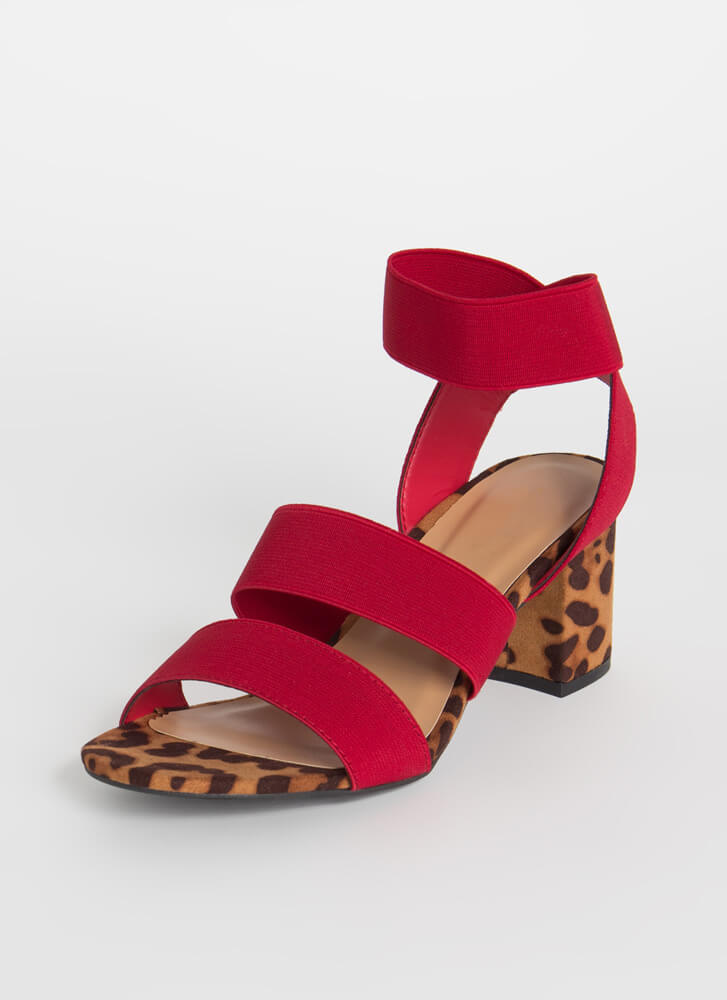 I'm On It Chunky Elastic Band Heels RED