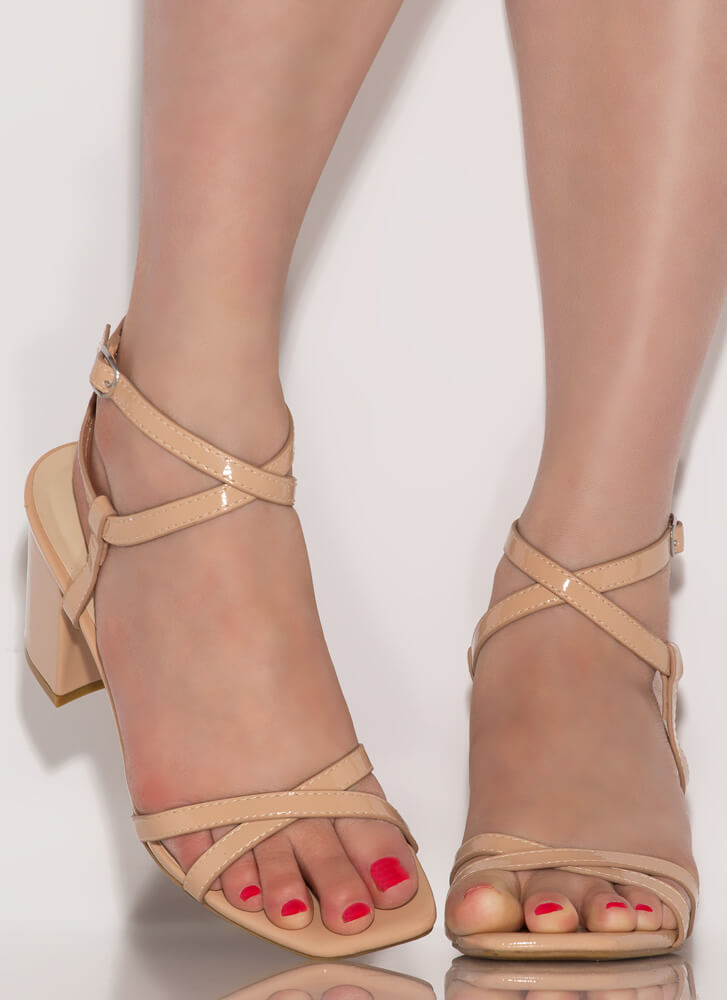 Get Strappy Faux Patent Block Heels NUDE