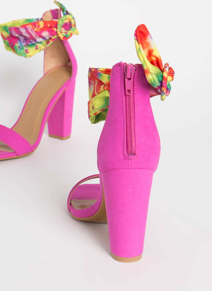 Dyed And True Tie-Dye Ankle Cuff Heels HOTPINK