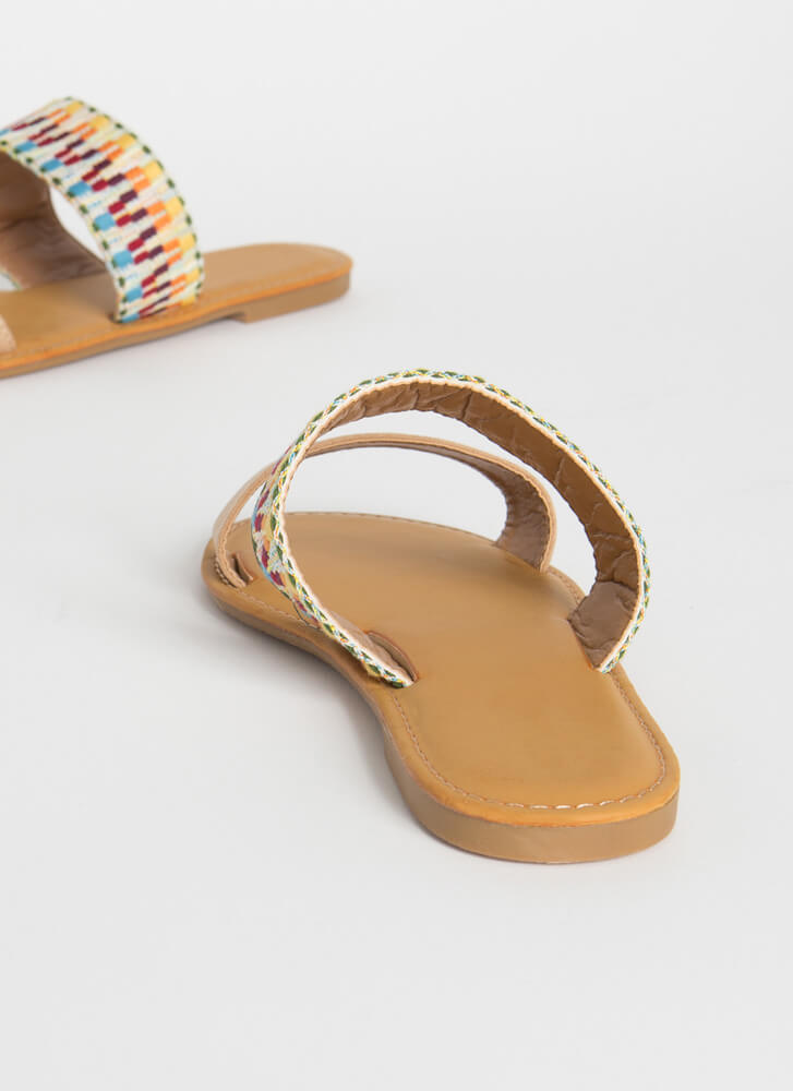 Vacay Embroidered Strap Slide Sandals NATURAL