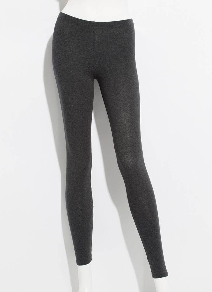 Keep Me Around Basic Mid-Rise Leggings CHARCOAL