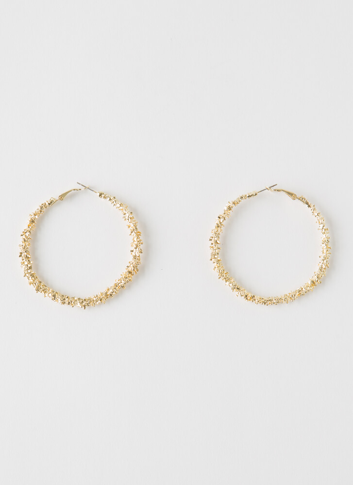 More Than Enough Textured Hoop Earrings GOLD