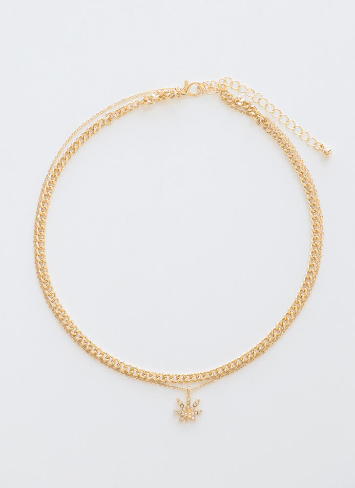 Mary Jane Layered Leaf Necklace GOLD