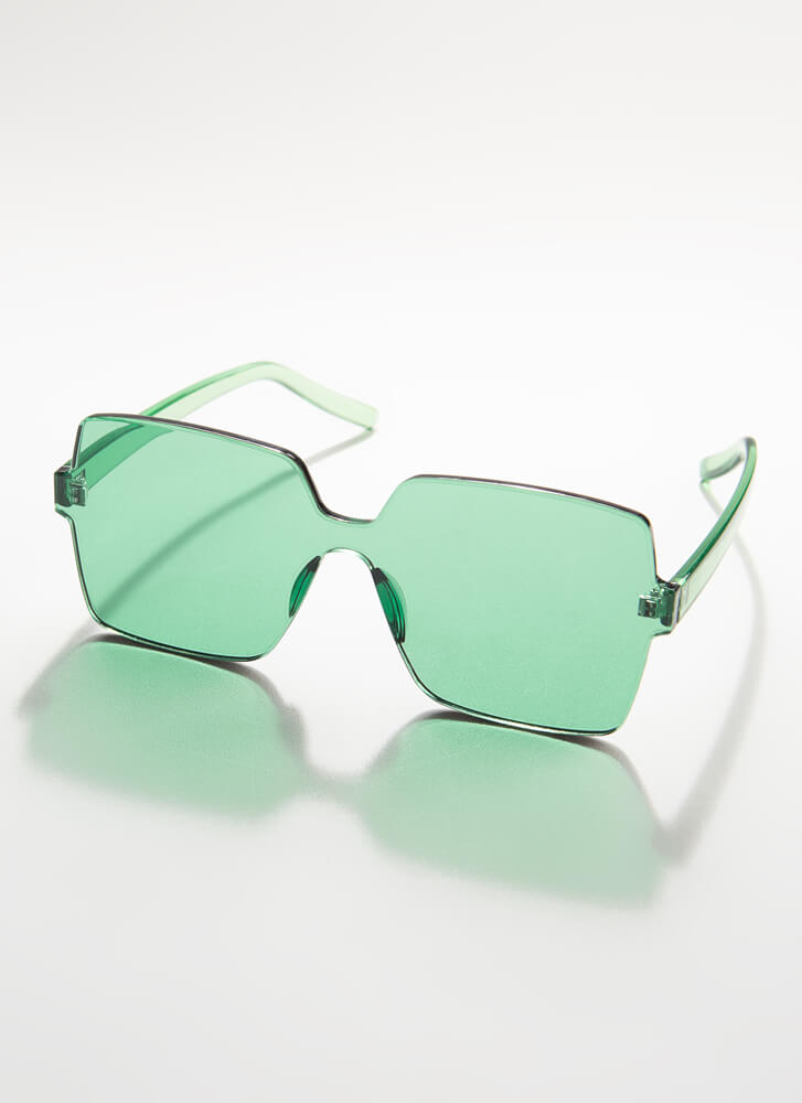 Fun And Frameless Square Sunglasses GREEN