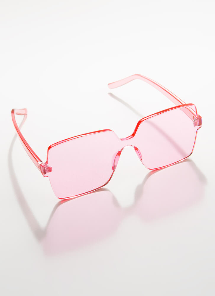 Fun And Frameless Square Sunglasses PINK