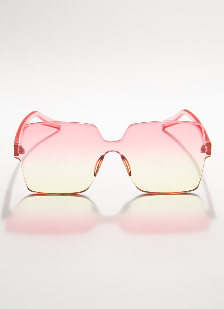 Fun And Frameless Square Sunglasses RED