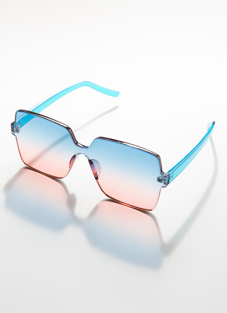 Fun And Frameless Square Sunglasses TURQUOISE