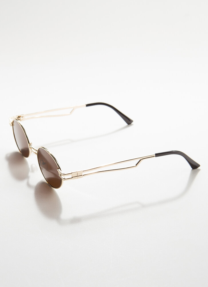 Poetry Slam Small Round Sunglasses BROWN