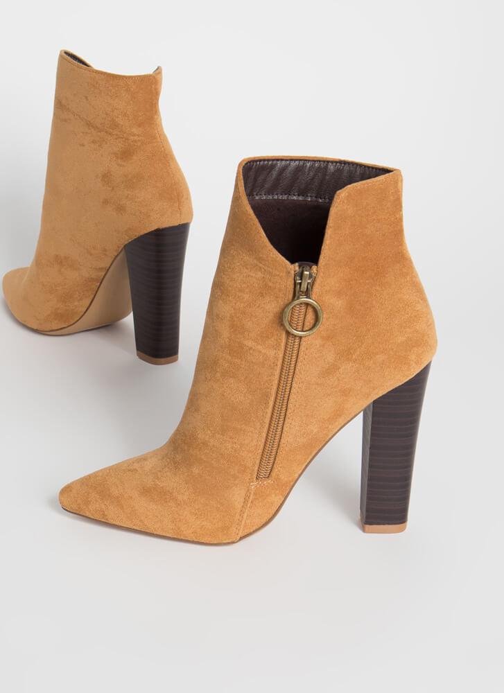 Zip It Cut-Out Faux Suede Booties TAUPE