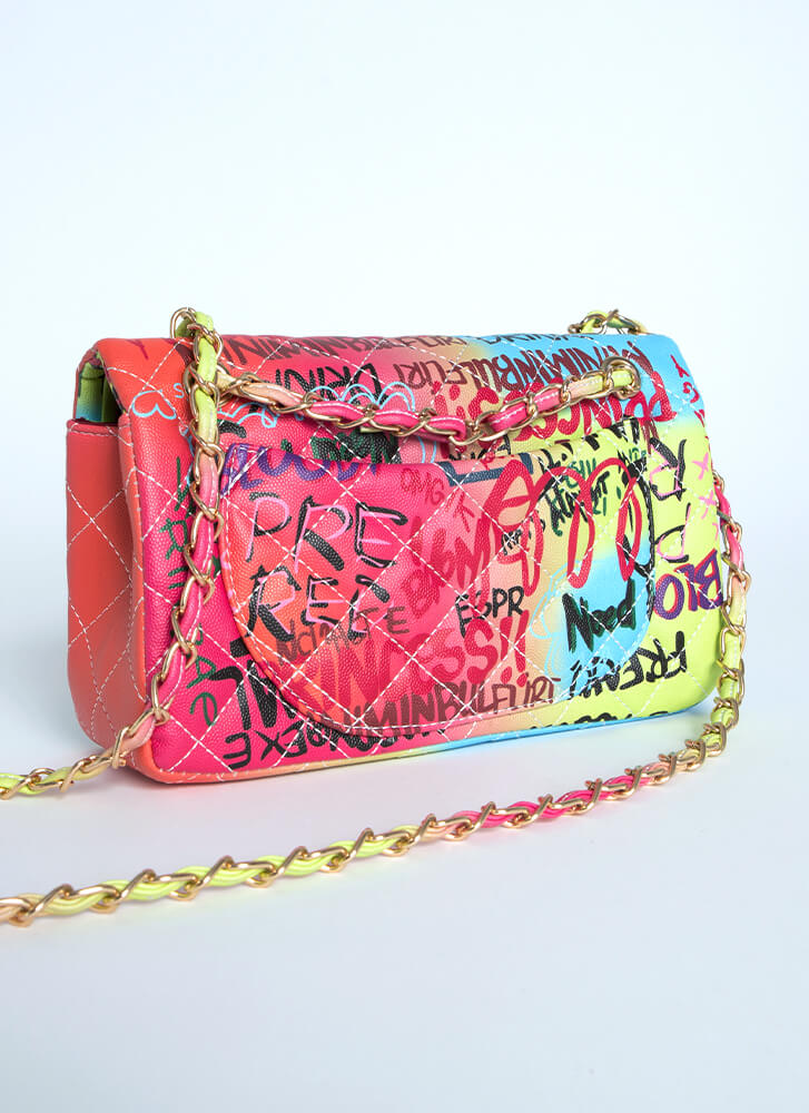 Tagged Quilted Ombre Graffiti Purse MULTI