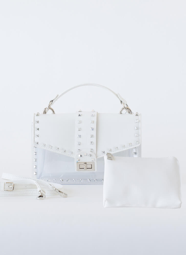 Clear Conscience Studded 2-Piece Purse WHITE