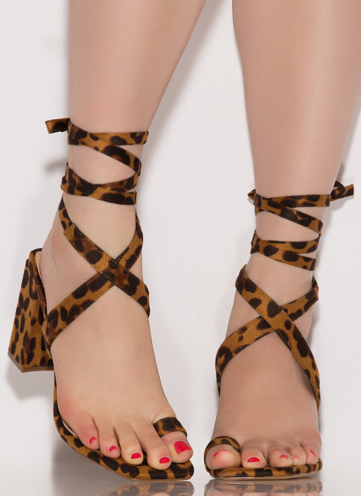 Tippy Toes Lace-Up Chunky Heels LEOPARD
