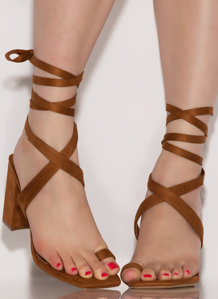 Tippy Toes Lace-Up Chunky Heels TAN