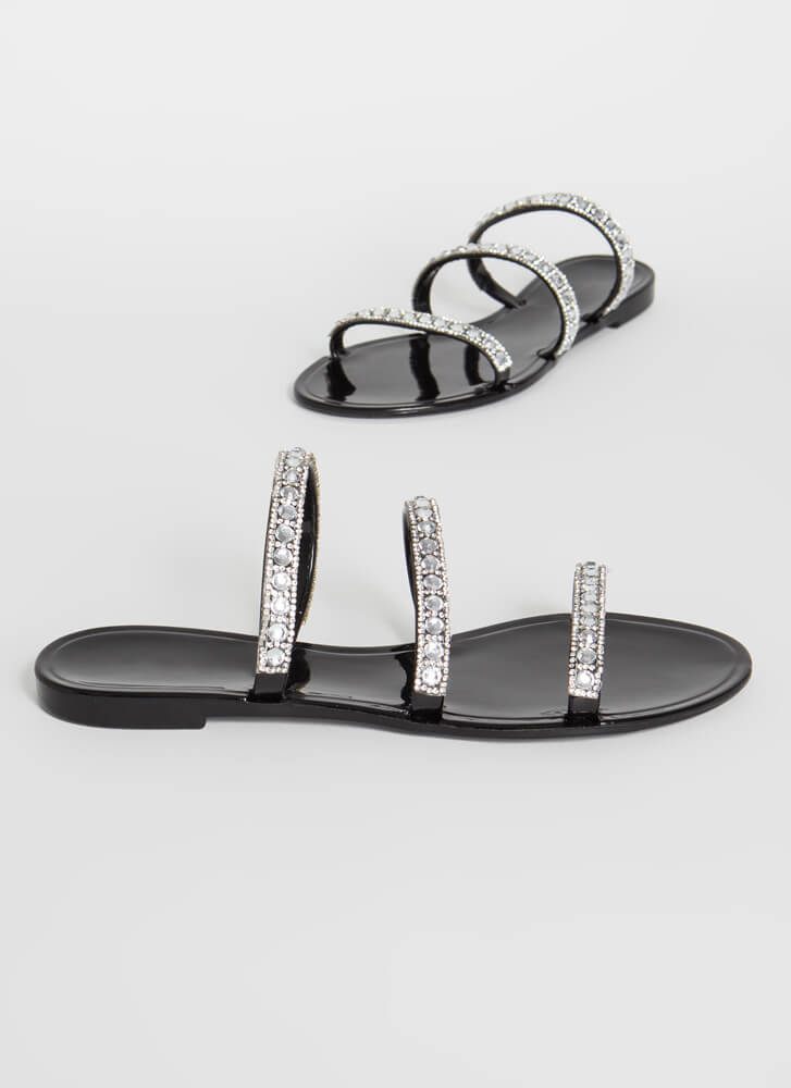 3-Strap Rule Jeweled Jelly Sandals BLACK