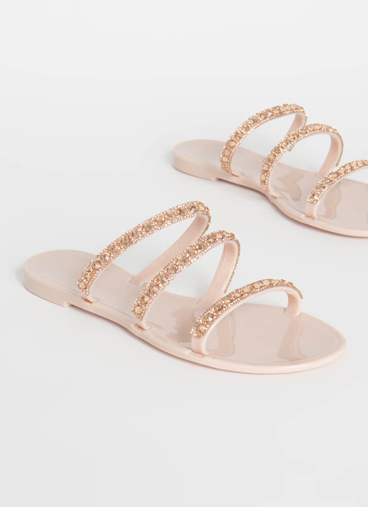 3-Strap Rule Jeweled Jelly Sandals NUDE