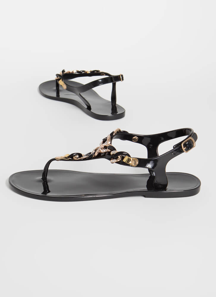 Be The Chain-ge Jelly T-Strap Sandals BLACK