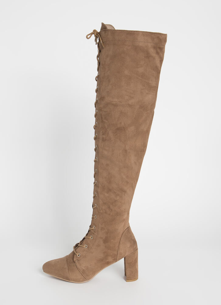 Huntress Chunky Lace-Up Thigh-High Boots TAUPE