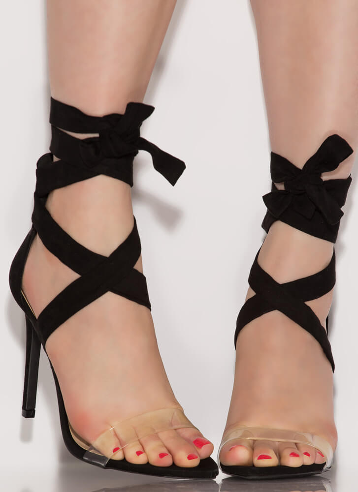 Leg Up Clear Strap Lace-Up Heels BLACK
