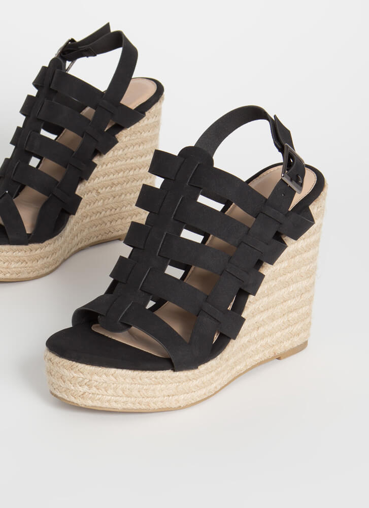 Vacation Days Caged Braided Wedges BLACK