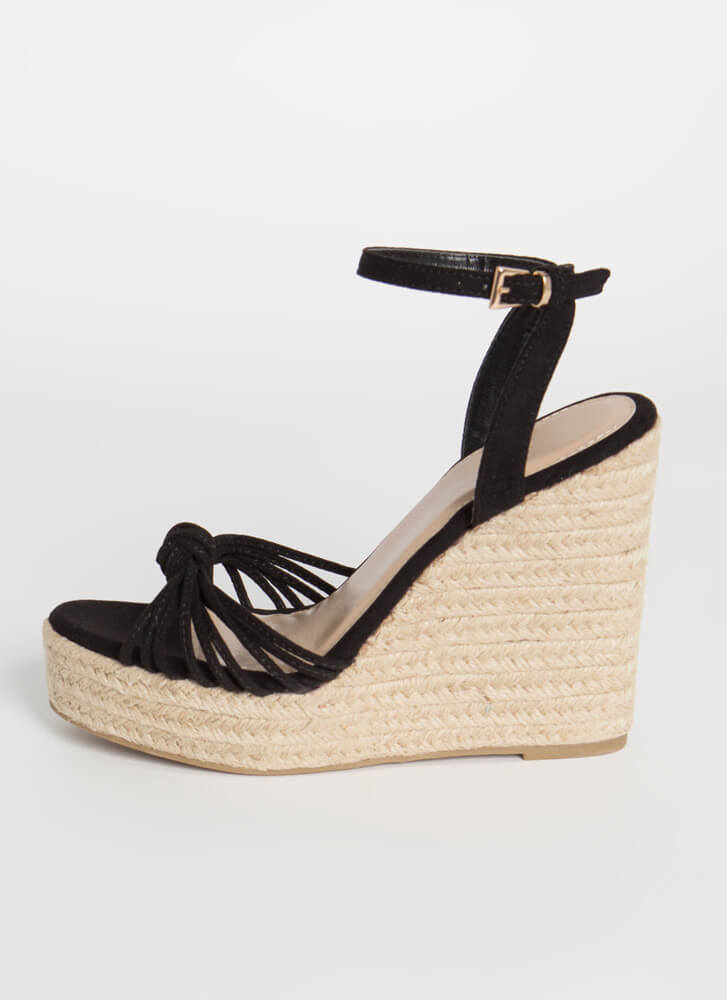 Time For Vacay Strappy Braided Wedges BLACK