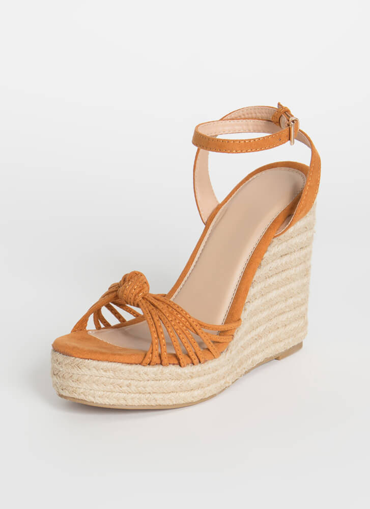 Time For Vacay Strappy Braided Wedges WHISKY