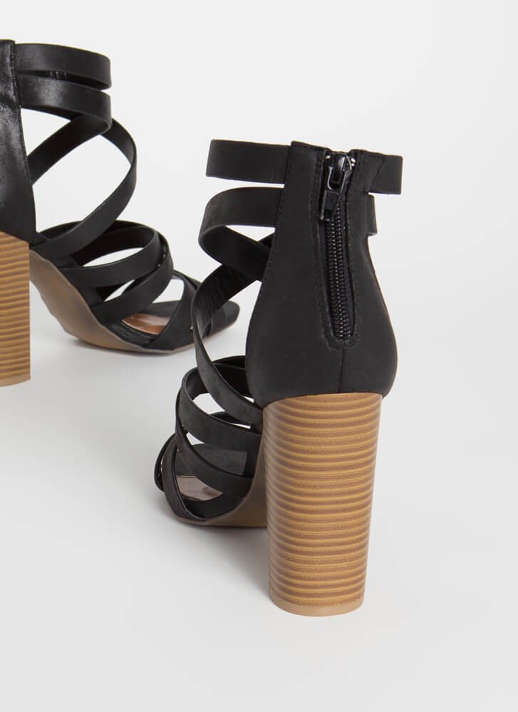 Have A Good Time Strappy Chunky Heels BLACK