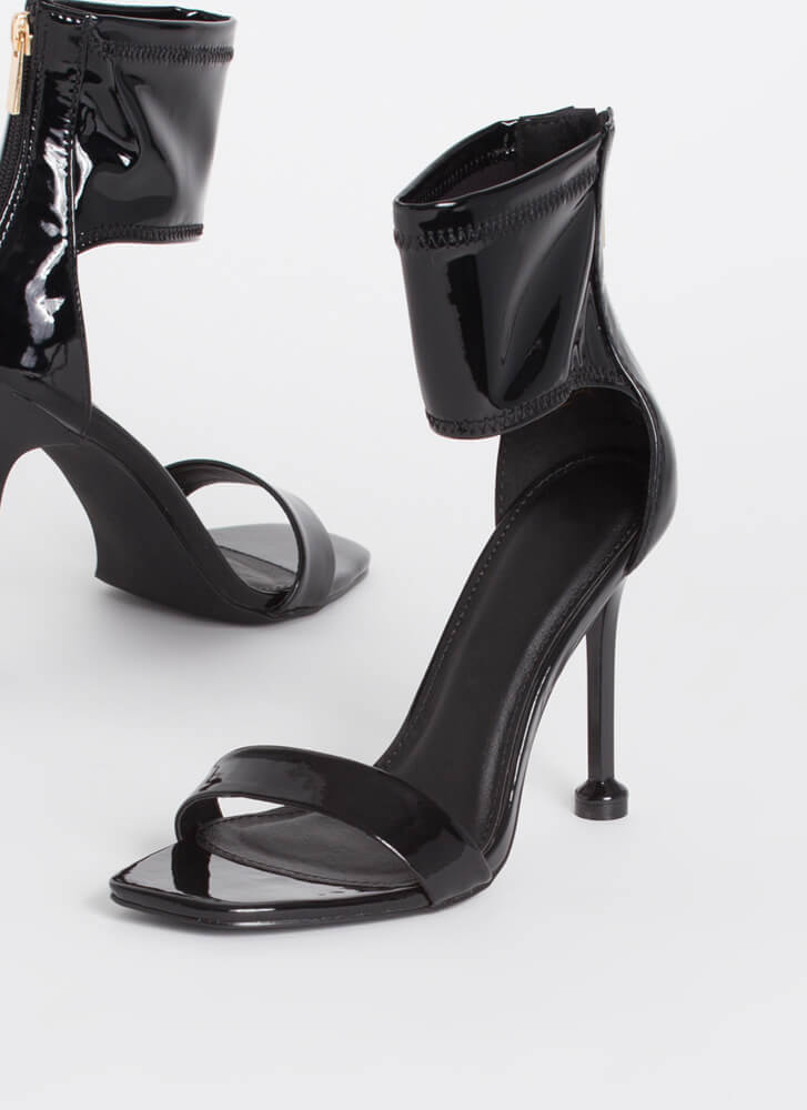 Pedestal Faux Patent Cut-Out Cuff Heels BLACK