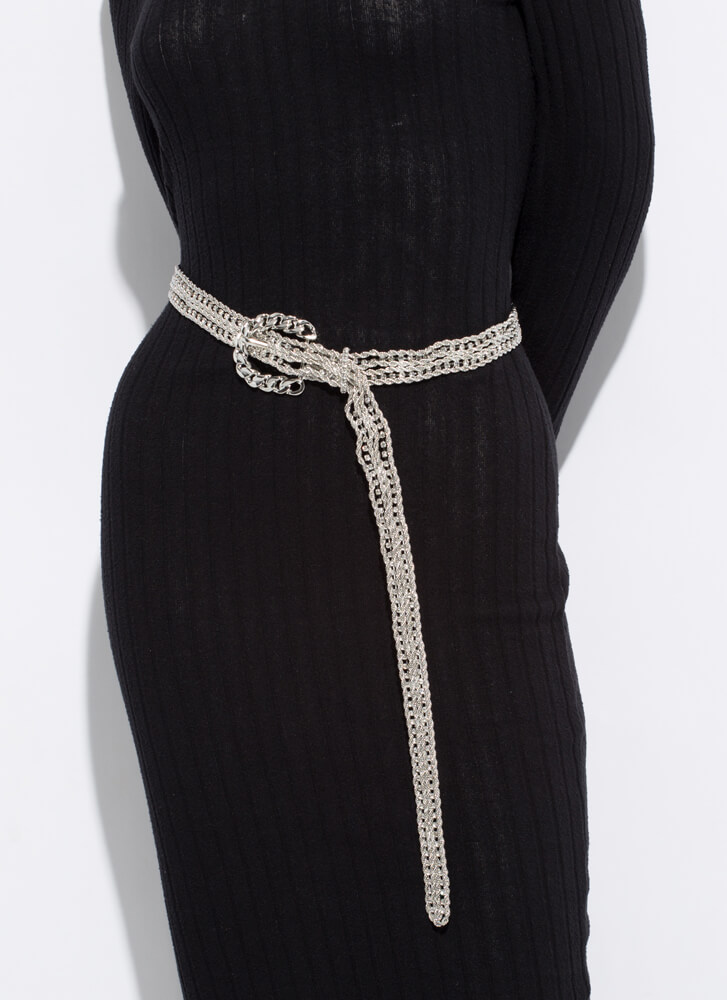 Rope Me Into It Jeweled Chain Belt SILVER