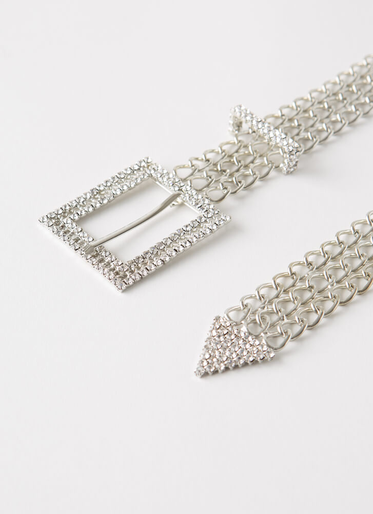 The Strongest Links Jeweled Chain Belt SILVER