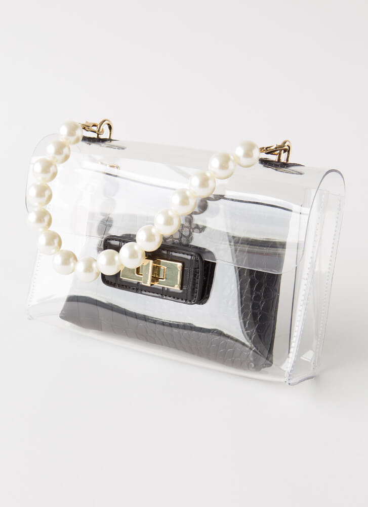 2 Gorgeous Clear Pearl Strap Purse BLACK
