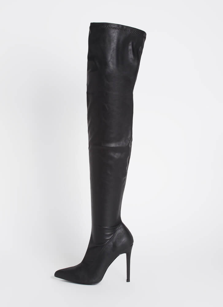 Fatale Faux Leather Thigh-High Boots BLACK