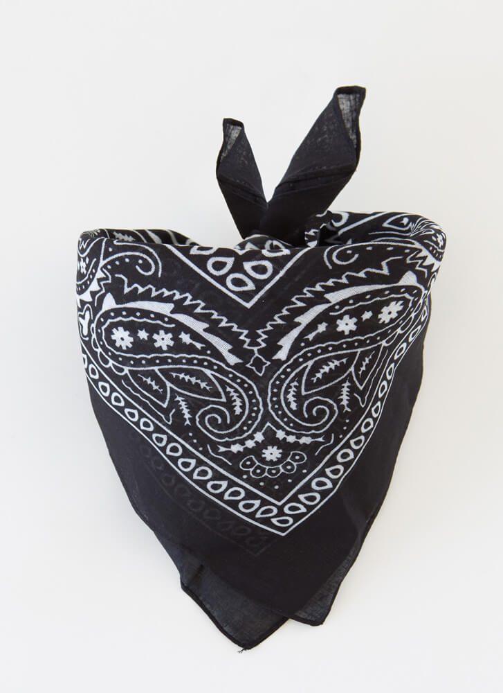 Miss Demeanor Paisley Bandana BLACK