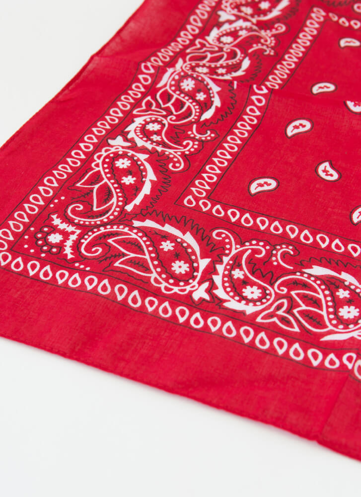 Miss Demeanor Paisley Bandana RED
