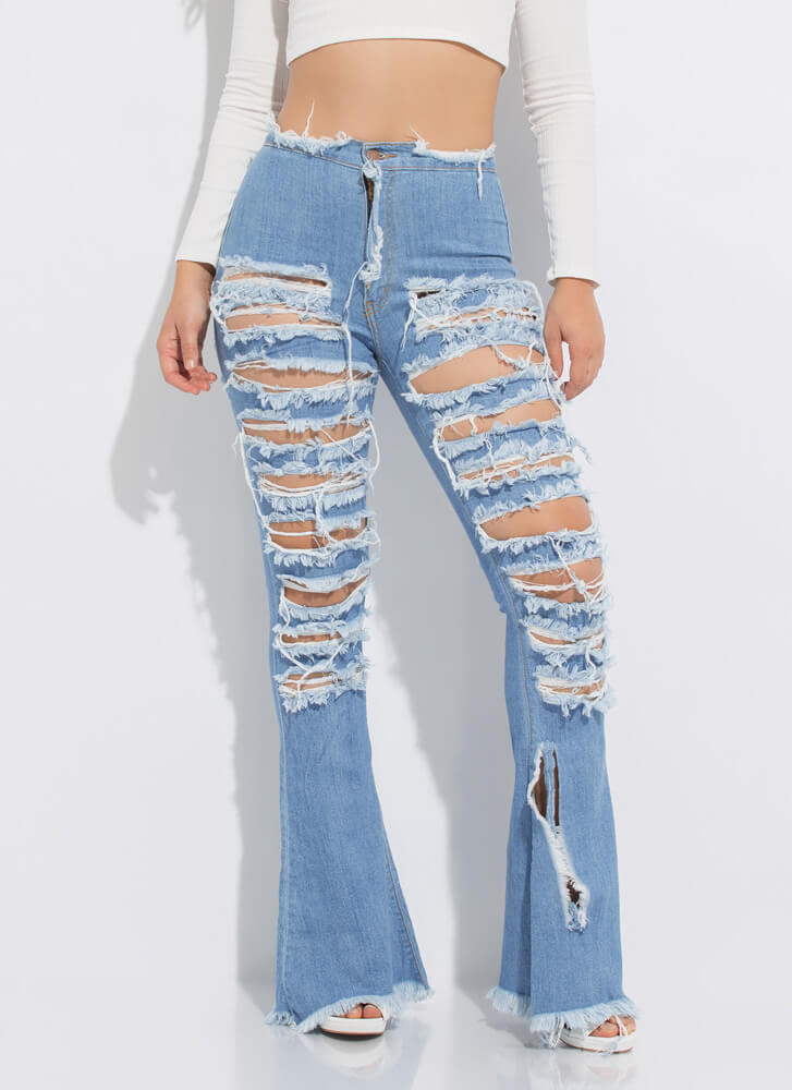 So Shredded Destroyed Bell-Bottom Jeans LTBLUE
