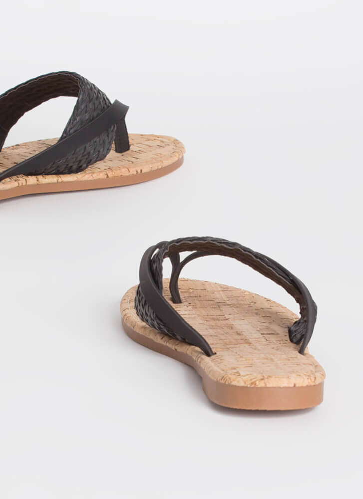 Back To The Villa Woven Thong Sandals BLACK