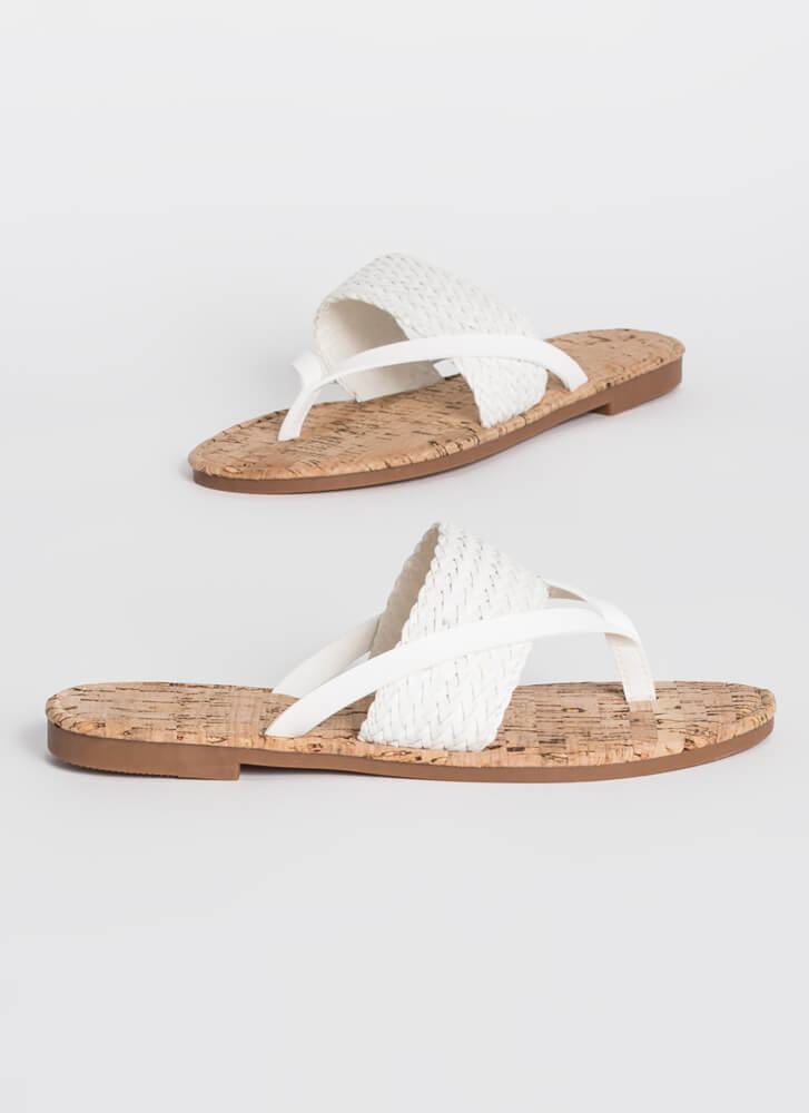 Back To The Villa Woven Thong Sandals WHITE