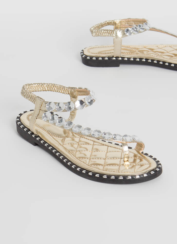 Curve Appeal Jeweled Studded Sandals GOLD