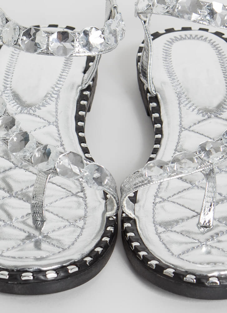 Curve Appeal Jeweled Studded Sandals SILVER