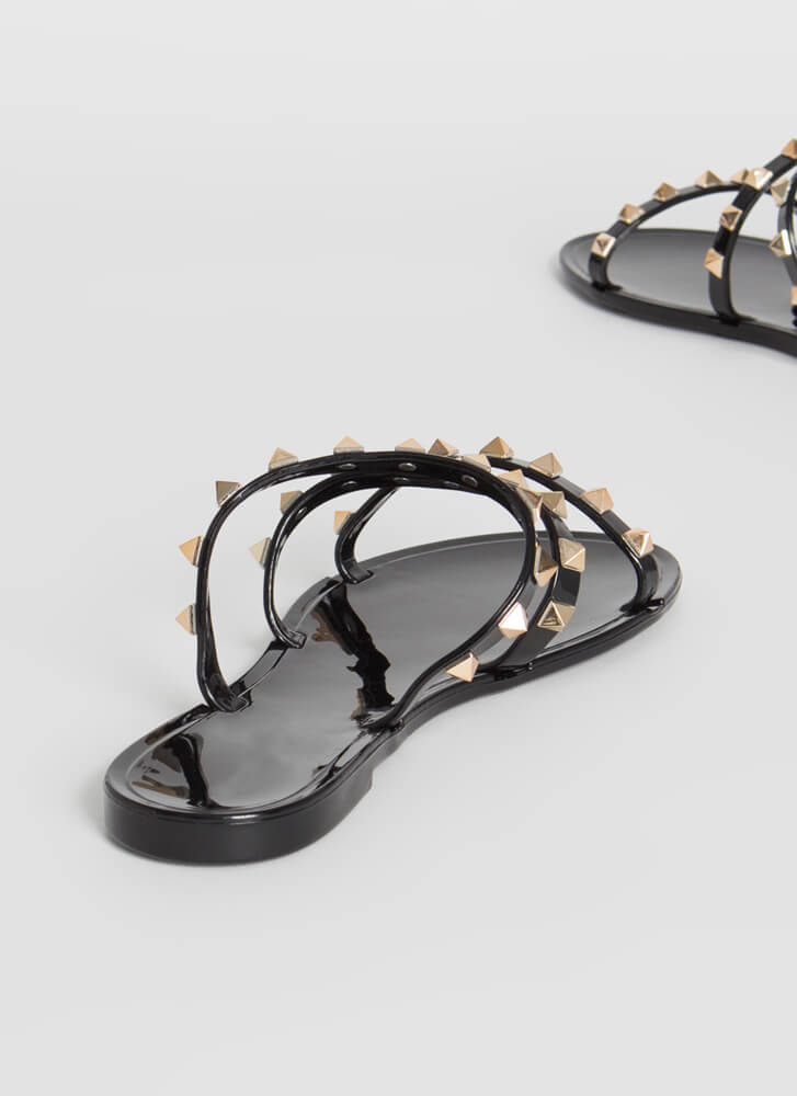 3-Strap Rule Studded Jelly Sandals BLACK