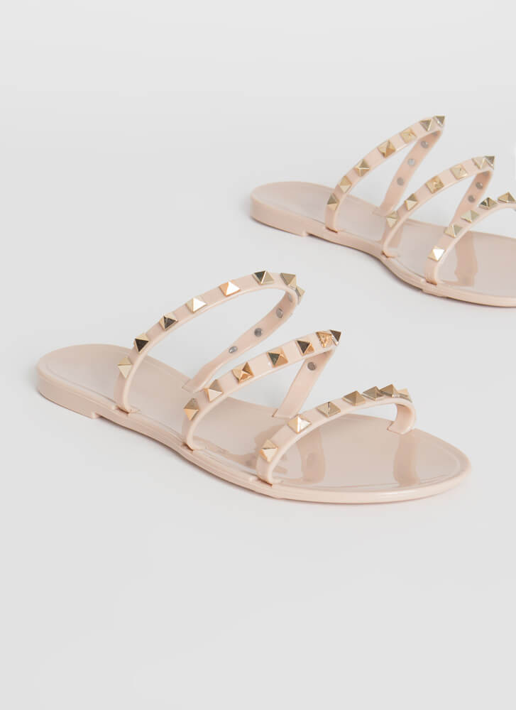 3-Strap Rule Studded Jelly Sandals NUDE