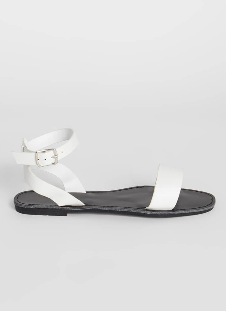 Plain And Simple Ankle Strap Sandals WHITE