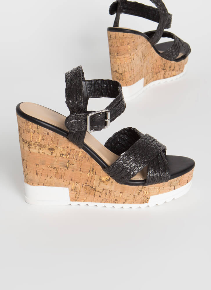 Play In Paradise Raffia Platform Wedges BLACK