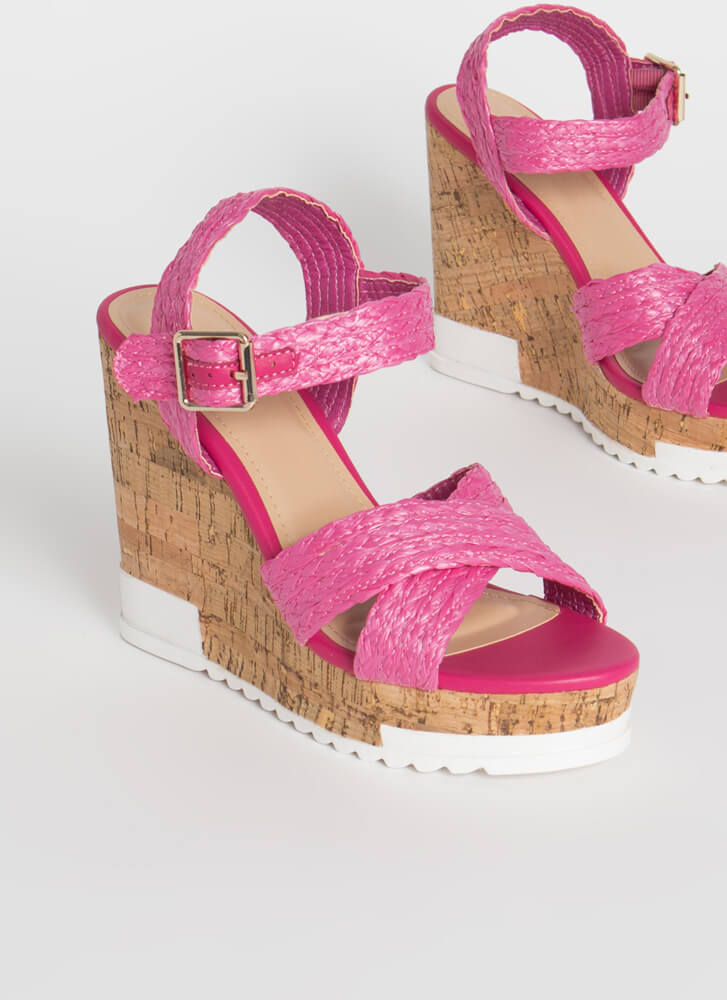 Play In Paradise Raffia Platform Wedges FUCHSIA